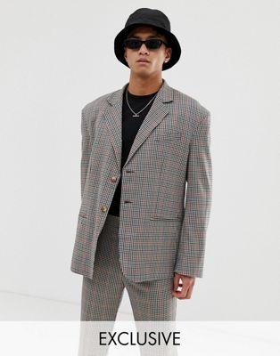 Image 1 sur COLLUSION - Veste de costume oversize à carreaux - Marron