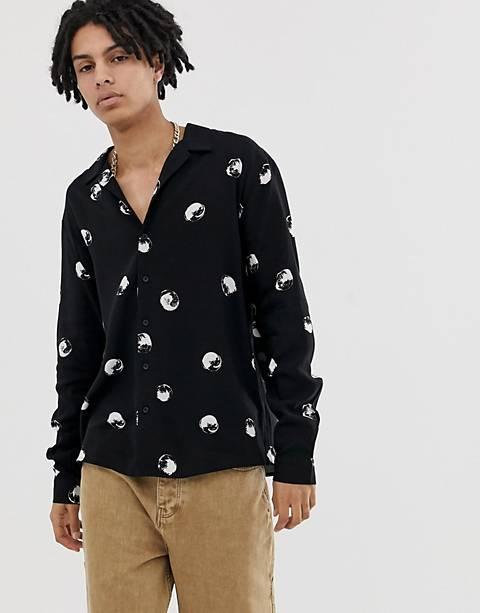 COLLUSION viscose revere polka dot shirt