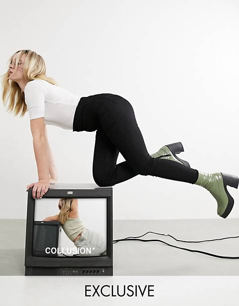 COLLUSION x002 – Enge Jeans-Jeggings mit hoher Taille in reinem Schwarz