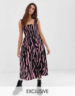 Image 1 of COLLUSION zebra shirred midi dress