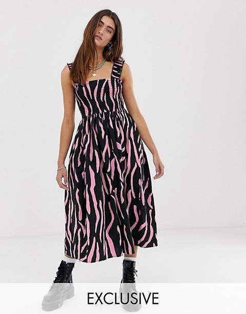 COLLUSION zebra shirred midi dress