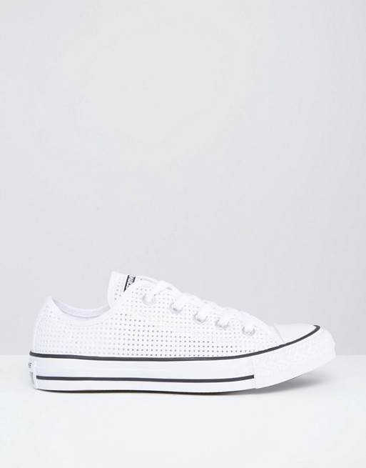 competitive price 059d9 f14b7 Converse - All Star Chuck Taylor Ox - Baskets en toile perforée - Blanc    ASOS