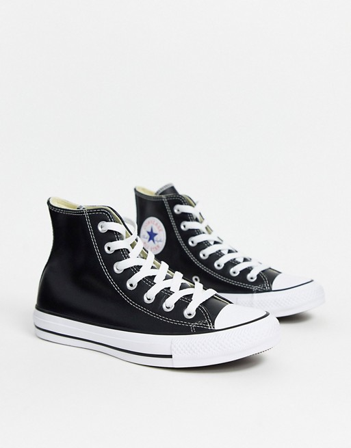 All Black All Star Converse High Tops Crocodile Leather