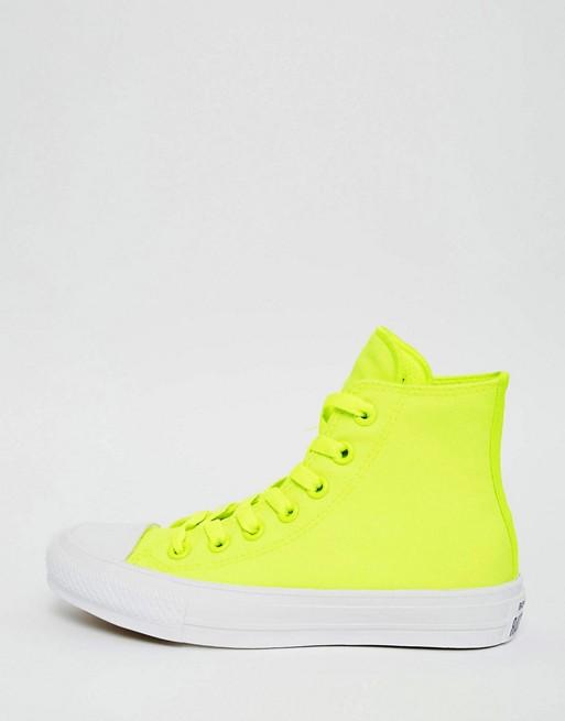 50b353f90e0f88 Converse Chuck Taylor II Neon Yellow Hi Top Trainers
