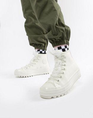 Converse Chuck Taylor – Lift Ripple – Höga, vita sneakers med teddyfoder