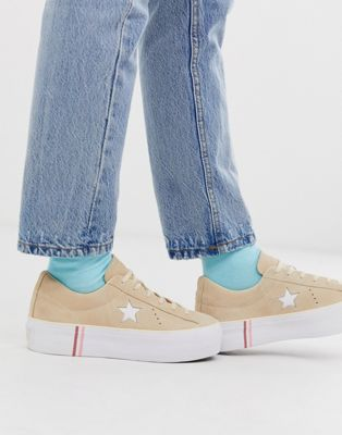 Converse - One Star - Beige sneakers met plateauzool