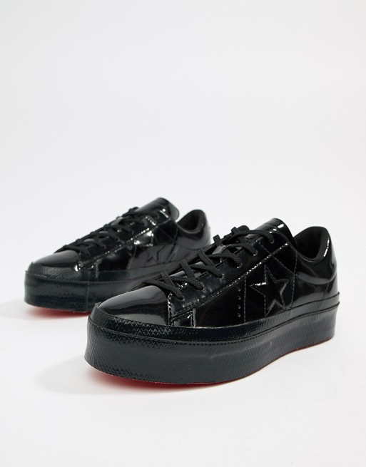 Converse One Star platform ox black trainers