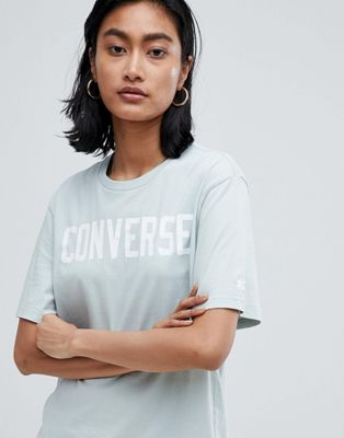 Converse Premium Essentials Logo Tshirt In Pale Blue