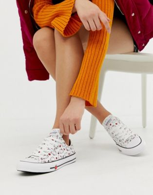 Image 1 of Converse x Hello Kitty Chuck Taylor Ox white all over print sneakers