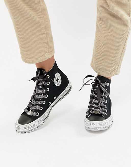 25ff7aa4d152 Image 1 of Converse X Miley Cyrus Chuck Taylor All Star Hi Trainers In  Black And