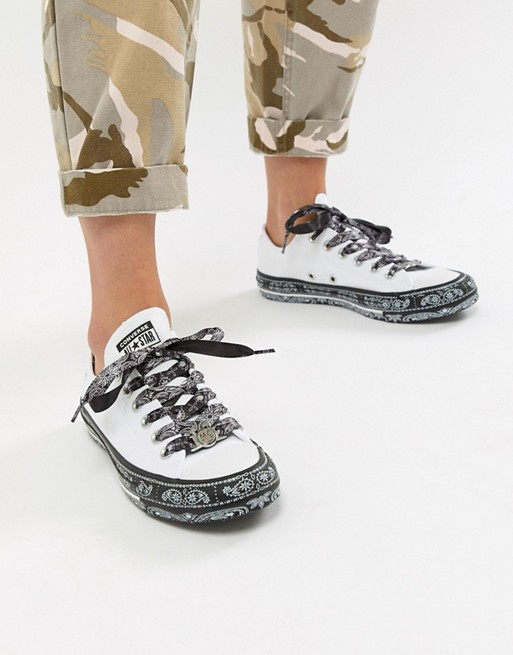 aaefeb734d69 Converse X Miley Cyrus Chuck Taylor All Star Low Sneakers In White And  Black Bandana Print