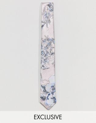 Corbata con diseño floral metalizado de Noose & Monkey