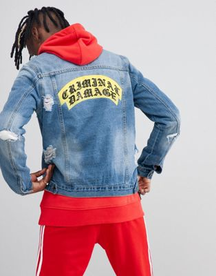 Criminal Damage Crest Ripped Denim Back Logo Jacket