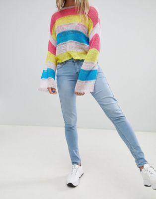 Immagine 1 di Criminal Damage - Jeans skinny con rosa applicata