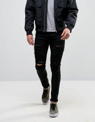 Criminal Damage - Jeans strappati super skinny neri