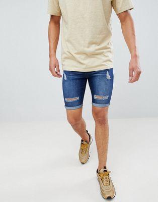 Criminal Damage - Short en jean - Bleu