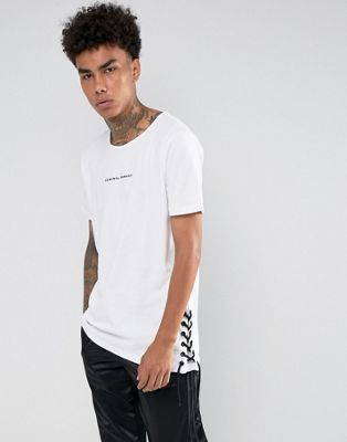 Criminal Damage T-Shirt In White With Lace Sides
