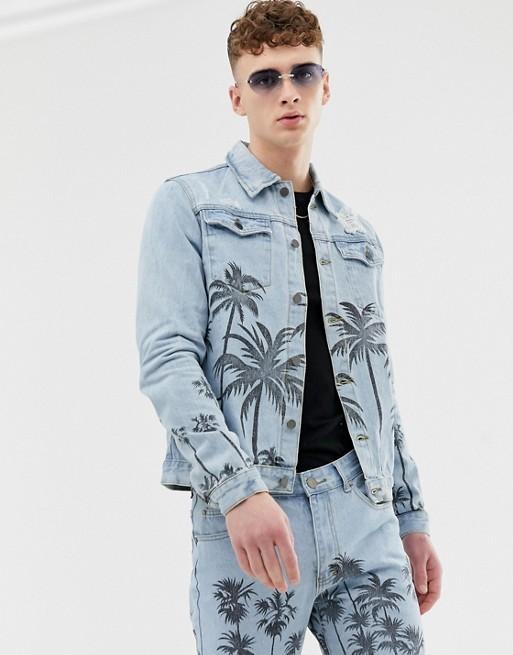 Criminal Damage two-piece denim jacket in blue with palm print