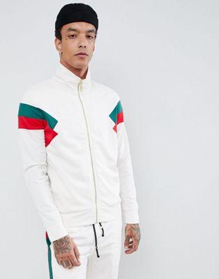 Criminal Damage – Weiße Trainingsjacke mit roten Seitenstreifen