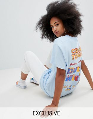 Crooked Tongues - Oversized t-shirt met dutty wine