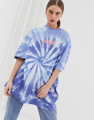 Crooked Tongues oversized washed tie dye t-shirt with logo print