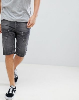 Image 1 of Crosshatch Washed Black Panelled Denim Shorts