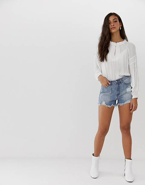 Current Air raw hem distressed denim shorts