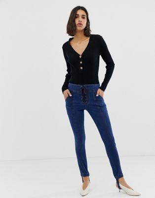 Current Air Skinny Jean with Stirrup and Lace Up Detail