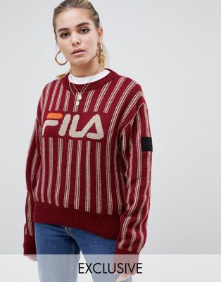 Image 1 of D-Antidote x Fila logo jumper with metellic stripe