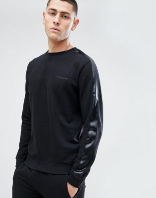 D Struct Crew Neck Sweat With Satin Arm Stripe by Sweatshirt