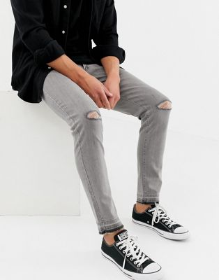 Image 1 of D-Struct skinny fit ripped knee denim jeans in grey