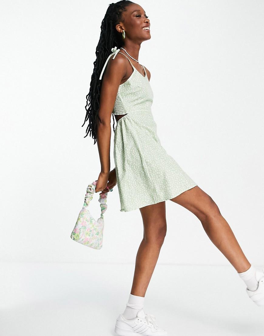 Daisy Street - Cami-minikjole i småblomstret print med bindestropper-Grøn