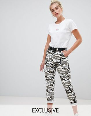 Daisy Street combat trousers with pockets in camo