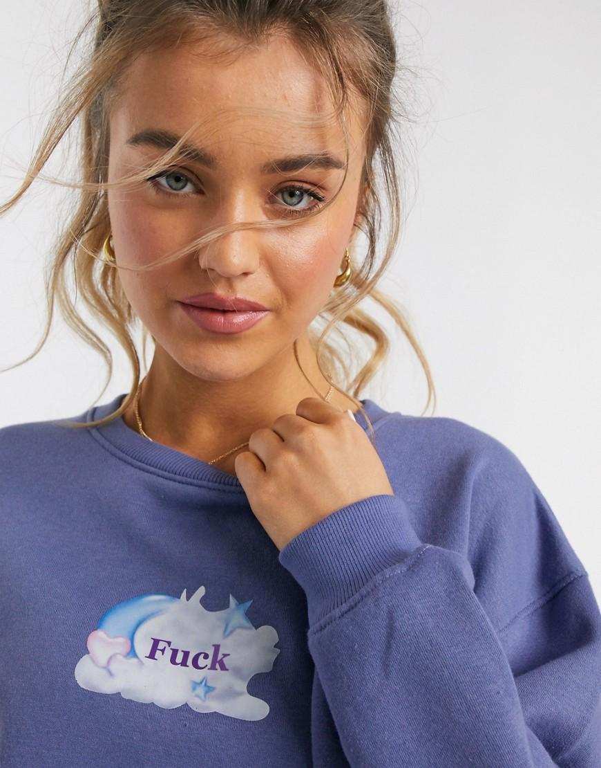 daisy street -  – Kurz geschnittenes Sweatshirt mit Rude-Print-Violett