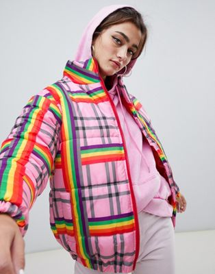 Daisy Street padded jacket in rainbow check