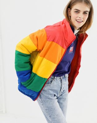 Daisy Street padded jacket in rainbow stripe