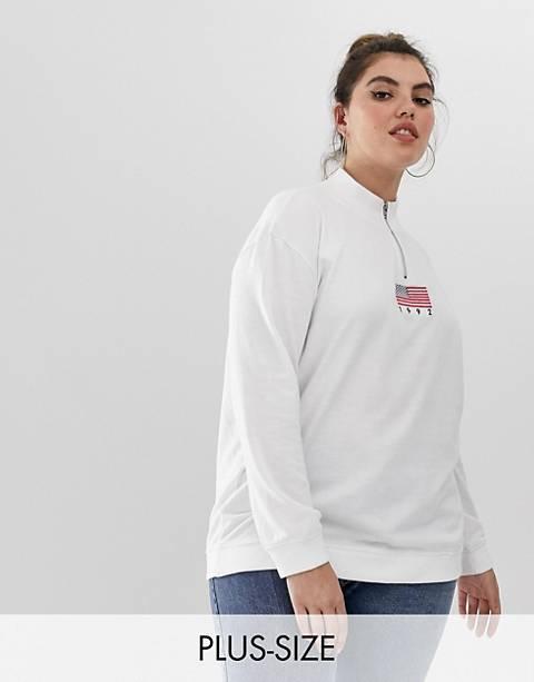 Daisy Street plus half zip sweatshirt with vintage 1992 embroidery