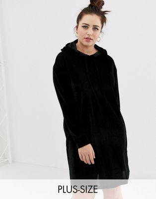 Daisy Street Plus - Robe façon hoodie en velours côtelé