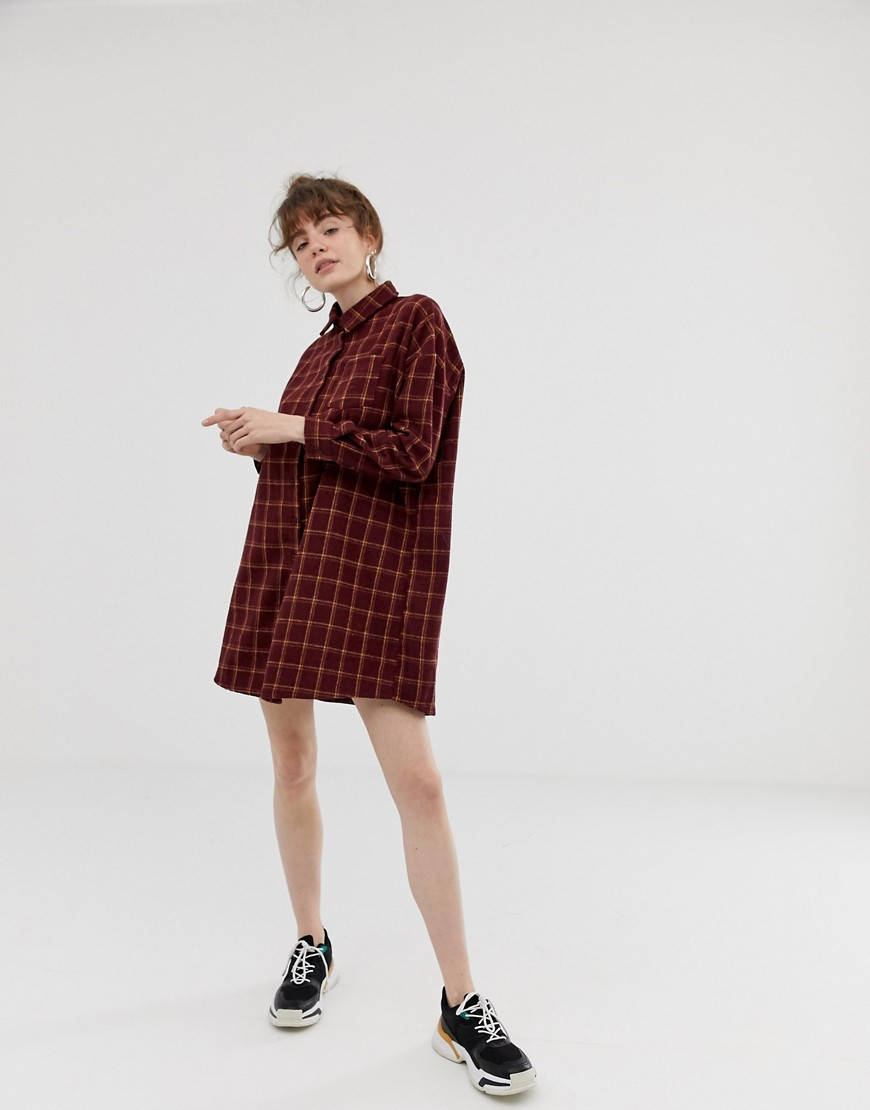Daisy Street Shirt Dress In Heavy Flannel Grid Check by Daisy Street