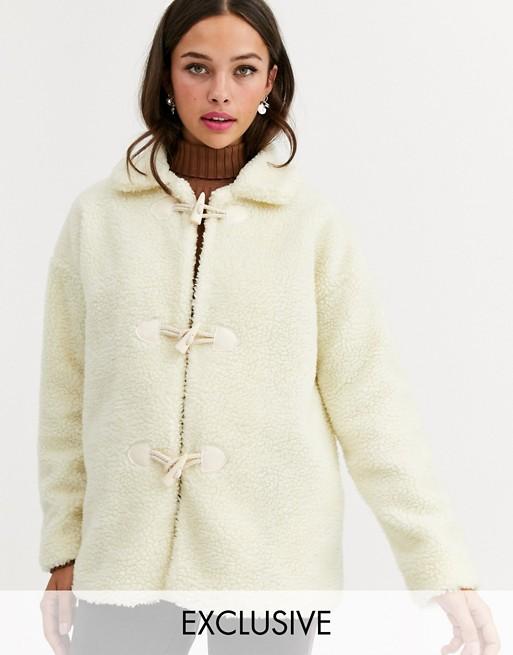 Daisy Street - Veste à boutons duffle-coat en polaire duveteuse