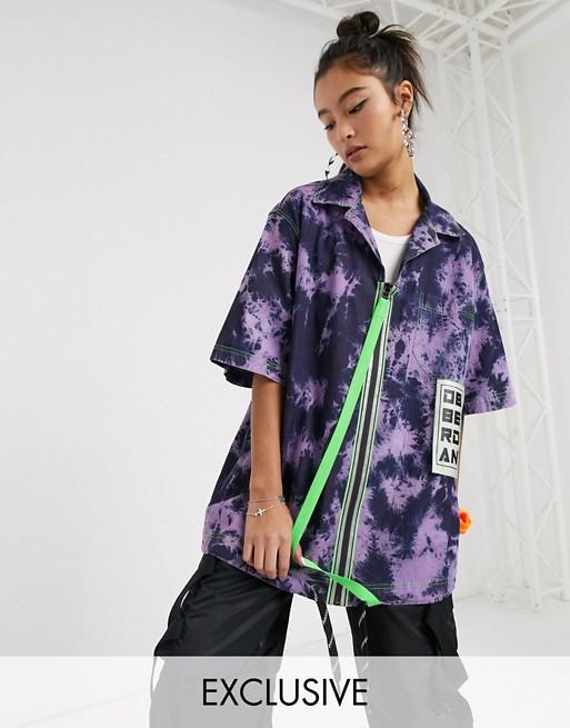 DB Berdan – Batikmönstrad skjorta i oversize med dragkedja