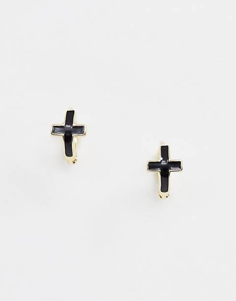 DesignB – Huggie – Ohrringe aus vergoldetem Sterlingsilber mit Kreuzanhänger