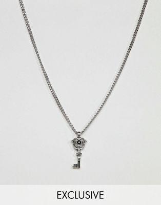 DesignB Key Pendant Necklace In Silver Exclusive To ASOS