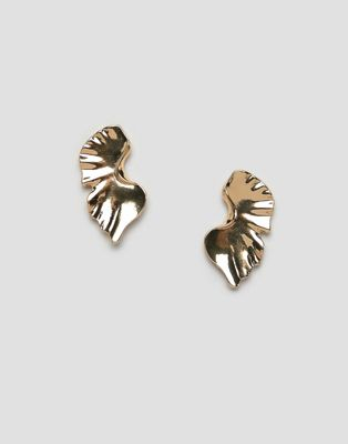 DesignB London abstract gold oversized stud earrings