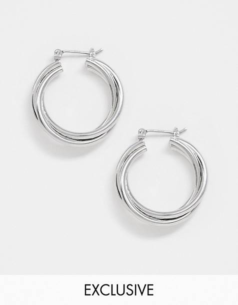 DesignB London exclusive twist hoop earrings in silver