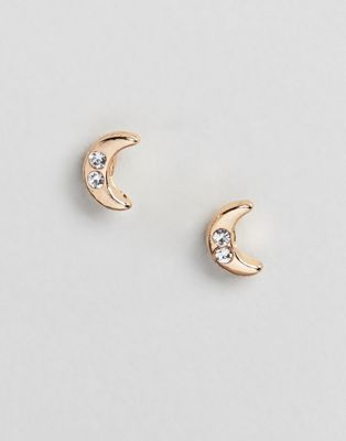 DesignB London Gold & Crystal Moon Stud Earrings