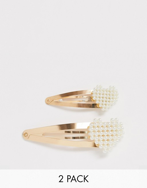 DesignB London gold pearl heart hair clips - 2 pack