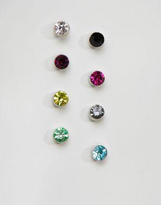 DesignB London - Lot de boucles d'oreilles en cristal effet arc-en-ciel