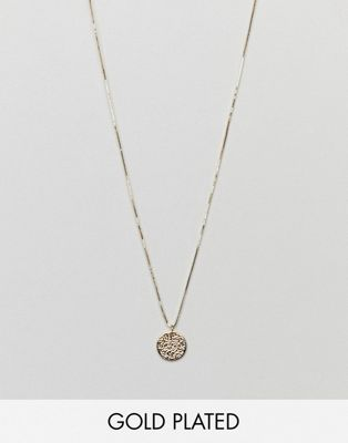 DesignB London Sterling Silver Gold Plated Embossed Disc Necklace