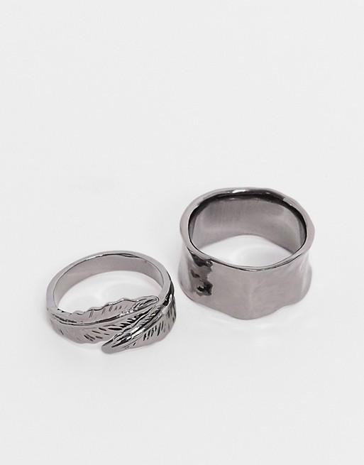 DesignB – Ringset mit breitem Band und Wickel- und Federdesign in Stahlgrau